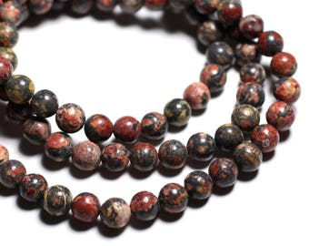 10pc - stone beads - Leopard skin Jasper balls 8mm 4558550038081