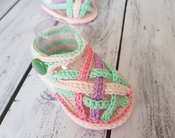 Crochet pattern. Color Baby Sandals. INSTANT DOWNLOAD