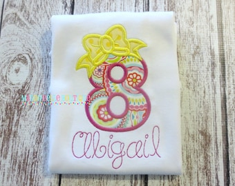 Girly Birthday Number with Bow Appliqued Shirt - Embroidered, Personalized, Monogram, Birthday, Number with Bow, Girls Birthday Shirt