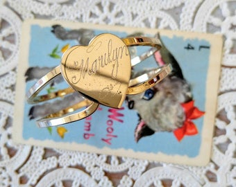 SALE! CHILD SIZE Vintage Engraved 'Marilyn' Spring Gold Bracelet with a Heart-Name-Personal-All Orders Only 99c Shipping!!