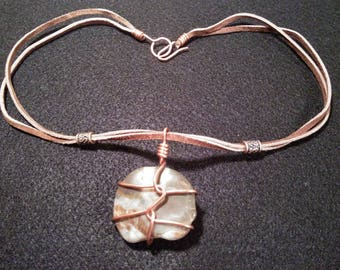 Wire Wrapped Tumbled Stone Necklace