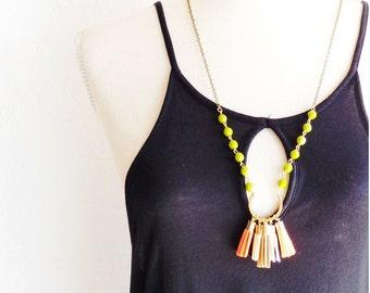Beaded Tassel Necklace - Vintage Beaded Necklace - Suede Tassel Necklace - Green Beaded Tassel Necklace - Layering Tassel Necklace - Boho