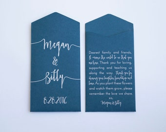 Navy & White Custom Seed Packet Modern Wedding Favors - Personalized Navy Blue Seed Packet Wedding Favor - Many Colors Available
