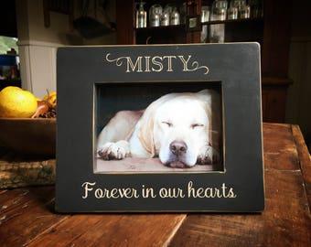 "Custom Pet Name in Memory of Frame ""Forever in our hearts"" - handmade dog frame"