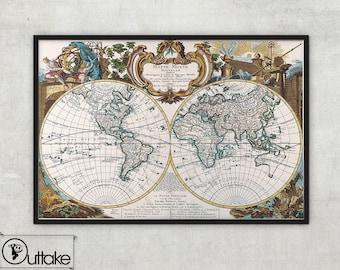 World map print - Vintage wall Map Fine Art archival print - 010