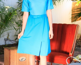 Beautiful Teal 1960s Textured Dress