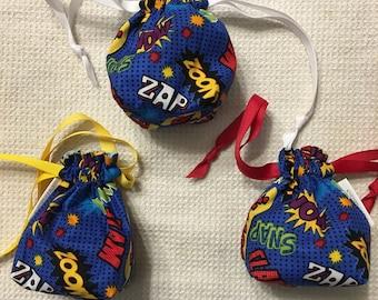 COMIC BOOK BAM! dice bag / knitting notions / change purse / drawstring bag, fully reversable
