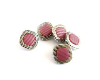5 Vintage Silver & Raspberry Pink Plastic Shank Buttons, 16mm