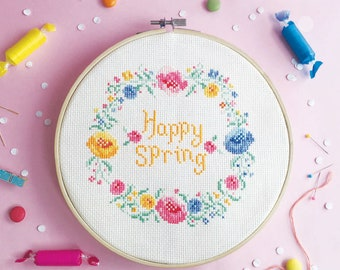 Easter cross stitch pattern, Floral cross stitch, Flowers cross stitch, Spring cross stitch sampler -  Floral Easter Wreath / Spring Wreath