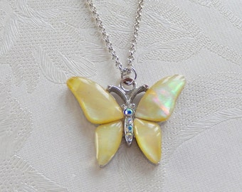 Butterfly Necklace, Vintage  Pendant, Mother of Pearl Necklace, Insect Jewelry, Gift for Her