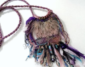 OOAK Hand Knit Art Fiber Dichroic Glass Baubble Decorated Treasure  Fairy Fantasy Bag