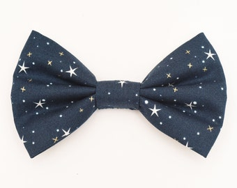 The Lott Bow Tie — Dog Bowtie, Brooklyn Bowtied, Stars, Constellation, Metallic, Celestial, Astronomy, Astrology, Star, Navy Blue