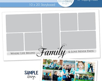 10 x 20 Family Quote Storyboard Photoshop File - Photographer Template