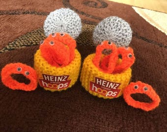 X2 Hand Knitted SPAGHETTI HOOPS Toy Food/Play/display