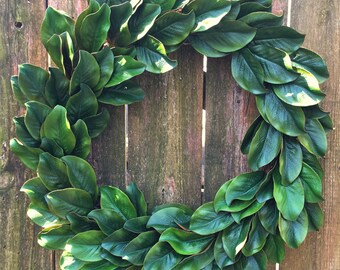Magnolia Wreath-Front Door Wreath-Spring Wreath-Magnolia Leaf Wreath-Spring Decor-Farmhouse Wreath-Outdoor Wreath-Year Round Wreath-24 inch