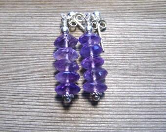 Boucles d'oreilles améthyste, argent, violet pierres précieuses boucles d'oreilles, en argent sterling, bijoux améthyste