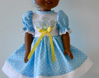 "Forget-Me-Not blue dot dress fits 14 1/2"" dolls"
