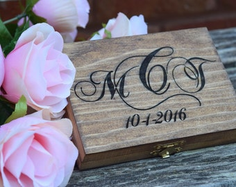 Ring Bearer Box - Shabby Chic Rustic Wedding Decor - Ring Bearer Pillow Alternative Personalized Ring Box - Rustic Wedding Wedding Ring Box