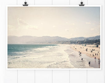 Beach House Art, Beach Decor, Santa Monica Beach Wall Art, California Print, California Wall Art, beach home decor, aerial beach print