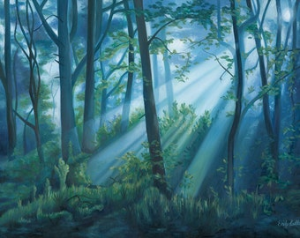Forest Landscape Oil Painting - Fine Art Giclee Print by Emily Luella