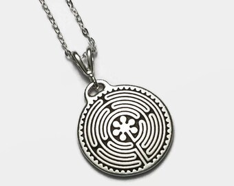 "Chartres Labyrinth Necklace 18"" Sterling Silver Cable Chain Tierracast Pendant"