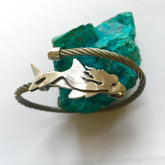 Mermaid and Shark bracelet, Ocean's Beauty and the Beast, Mermaid bracelet, Shark bracelet, Mermaid silver bracelet, Shark silver bracelet