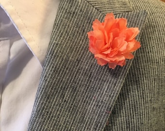 Medium Peach Lapel Flower Button