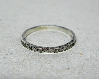 Thin Hammered Sterling Silver Band