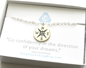 Graduation Gift • Compass Necklace • Best Friend Gift • Layered Necklace • College Graduation • Inspirational Necklace • Travel Jewelry