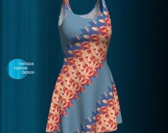 Blue and Yellow DRESS for WOMEN Spring DRESSES Designer Fashion Print Dress Art Dress Flare Dress Floral Dress Summer Dresses for Girls