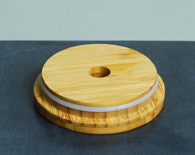 One Bamboo Snap-on Mason Jar Lid with Straw Hole and  Silicone Gasket -  Snug fit