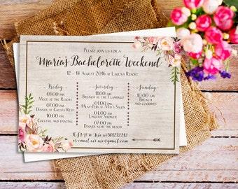 Boho Bachelorette Party Itinerary Invitation, Bachelorette Schedule Timeline, Boho Bachelorette Party, Bachelorette Weekend invitation