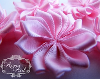 Baby Pink Satin Ribbon Fabric Flowers, 5 pcs, 38mm size,  ribbon flower, hair clip embellishment - reynaredsupplies