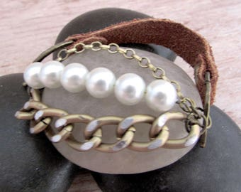 Boho Leather and Pearl Bracelet - As Gifted to Stephanie Drapeau - Bohemian Cuff - Girlfriend Gifts Under 20 - Boho Leather - Everyday