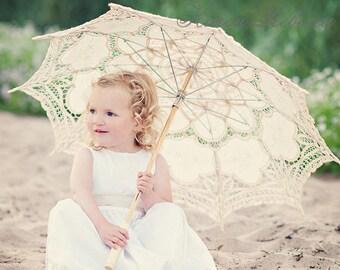 For Wedding Flower Girl Handmade Battenburg Lace Vintage Umbrella Parasol New Pattern