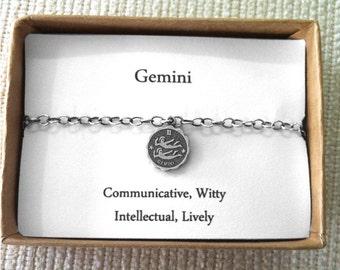 Gemini Bracelet, Birth Sign, Zodiac Jewelry,Twins Bracelet, Gemini jewellery, May,June Birthday,Astrology Gifts For Her,Astrological Jewelry