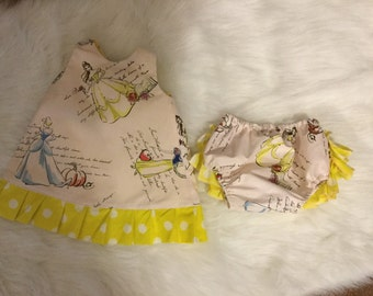 Princess pinafore with ruffle bloomers. little girl pinafore set, Princess set, Princess girl guffle bloomer set, Disney princess set