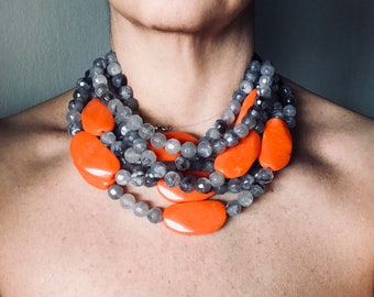 Grey and orange choker necklace, orange necklace, coral necklace, bib necklace, resin necklace, stratified necklace