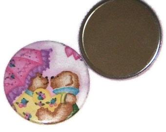 """Schatz-Spiegel-Teddys mit rosa Regenschirm 3"""" Pocket Mirror Sweetheart Geschenk"""