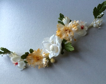 Vintage 30's Silk Crepe Flowers, S-shaped Band, Millinery Supply