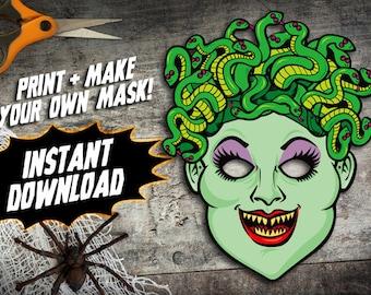 PRINTABLE Medusa Mask, kids paper halloween mask, DIY halloween costume parties, greek mythology monster mask, instant download PDF