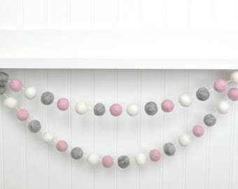 Pink Gray and White Garland, Felt Ball Garland, Pom Pom Garland, Felt Banner, Baby Girl Nursery Decor, Baby Girl Baby Shower Decoration