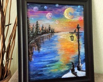 Painting on Glass - Cat taking in the watery starry starry night sky
