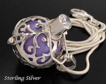 Sterling Silver Harmony Ball Necklace with Lavender Chime Ball and Brilliant CZ   Bola Necklace, Pregnancy Gift, Angel Caller, Balinese 870