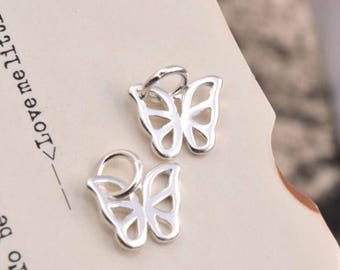 2 pcs sterling silver butterfly charm pendant