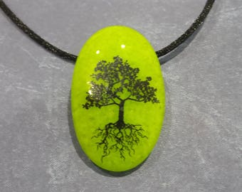 Tree Necklace, Lime Green Fused Glass Pendant, Tree of Life Pendant, Tree with Roots, Ready to Ship, Fused Glass Jewelry - Greentree -7