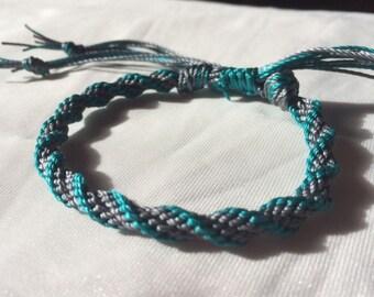 Grey and turquoise spiral kumihimo bracelet, adjustable