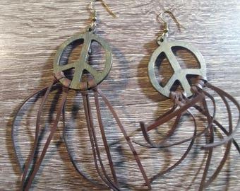 Fringe Peace Sign Earrings