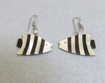 Mod Black and White Striped Fish Pierced Earrings, Big and Fun