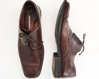 Mens Vintage Johnston & Murphy Brown Leather Oxfords // Vtg Brown Dress Shoes // Lace Up Dress Shoes Leather Upper // Mens Size 10 W